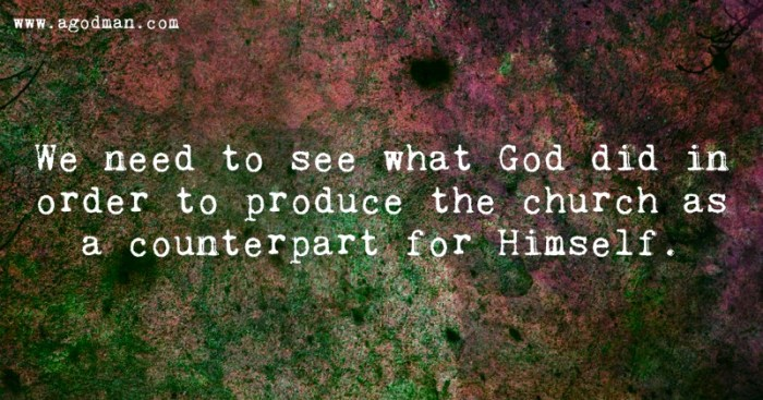 We need to see what God did in order to produce the church as a counterpart for Himself.