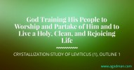 God Training His People to Worship and Partake of Him and to Live a Holy, Clean, and Rejoicing Life, Crystallization-Study of Leviticus (1), outline 1
