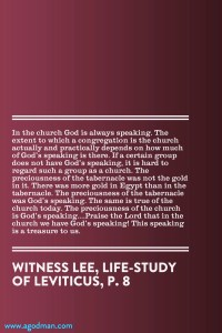 God is Training us to Worship and Partake of Him through His Speaking in the Church