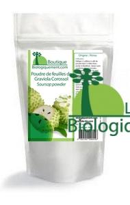 Achetez de la poudre de feuilles de corossol graviola sur la boutique biologiquement.com, CLIQUEZ