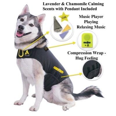 dog anxiety cat relief vest shirt coat calming jacket wrap blanket thunder shirt thundershirt shirts thunderstorm fireworks stress fear aggression barking collar dogs for music aromatherapy essential oils lavender chamomile agon cozyfur cozy fur swaddle hurricane storm vet visits separation reviews