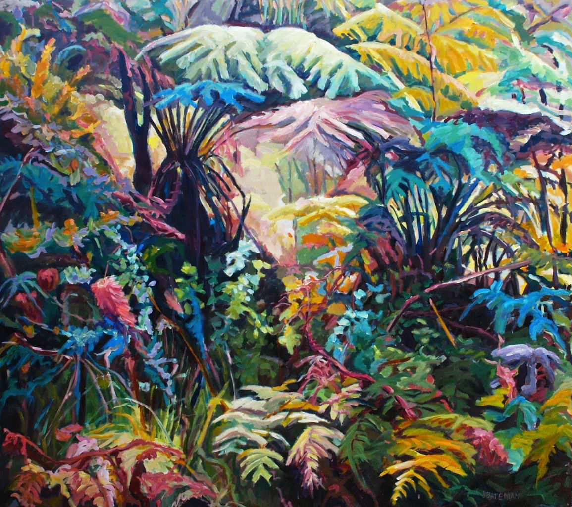 """Colourful Fern Waltz,"" Oil on Linen, 48"" x 54"""