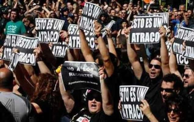 "Photo of ألفيْ إسباني خرجوا في مظاهرات للمطالبة بإسقاط حكومة ""راخوي"""