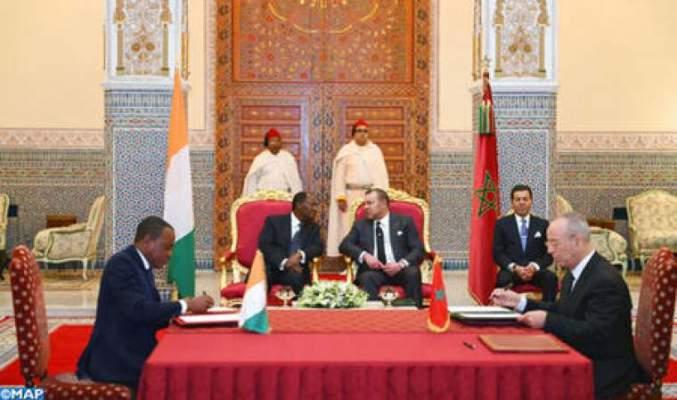 Photo of جلالة الملك ورئيس جمهورية الكوت ديفوار يترأسان حفل التوقيع على عدد من اتفاقيات التعاون
