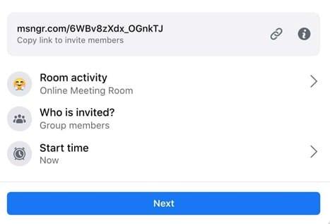 starting a room in facebook messenger