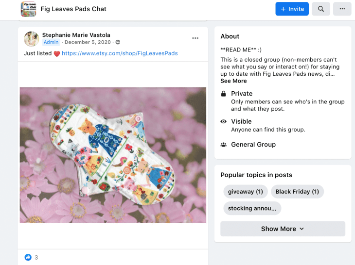 Facebook group sharing exclusive access to products