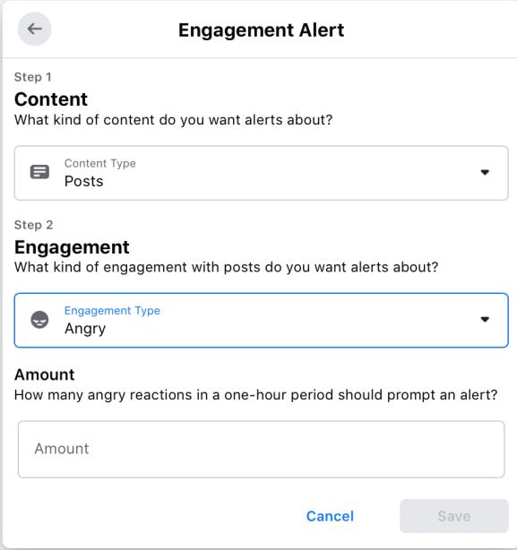 Engagement alert for Facebook Group set up