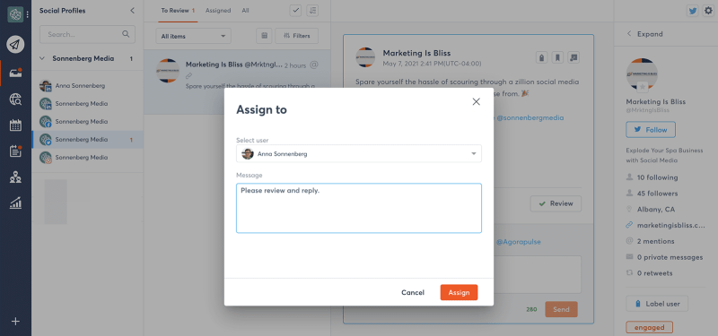 assign social media engagement to team members