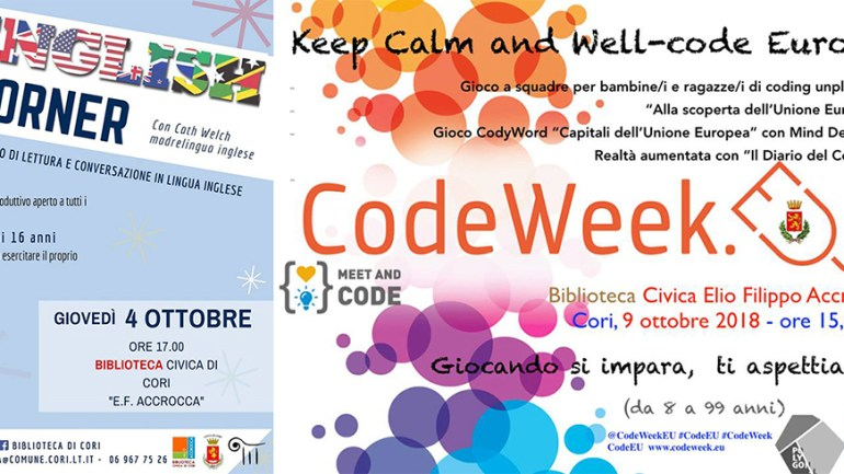 """English Corner"" & ""Keep Calm and Well – Code Europe"". Due nuove iniziative alla Biblioteca comunale di Cori"