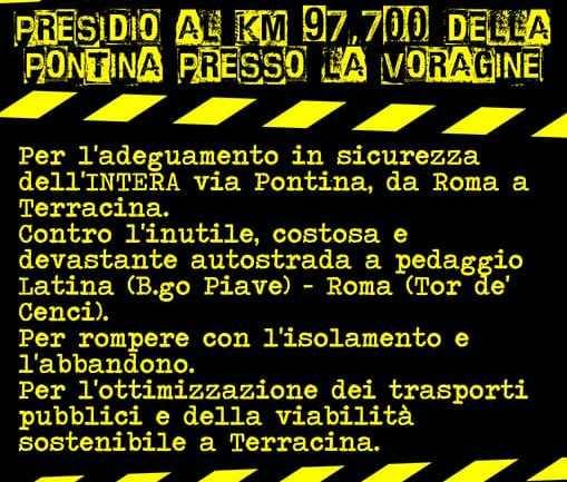 """Terracina. Legambiente al presidio del """"Comitato no Corridoio Roma – Latina"""""""
