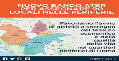 Regione Lazio. Al via il bando Ater per assegnare 90 locali nelle periferie romane