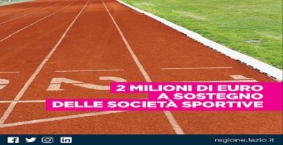 Regione Lazio. 2 milioni di euro per società sportive dilettantistiche