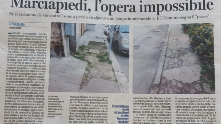 Mobilità Insostenibile: la difficile vita del pedone a Terracina, una città ad ostacoli…