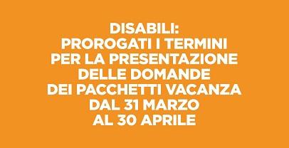 Sociale: prorogati i termini dei pacchetti vavanza per disabili