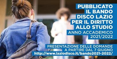 Regione Lazio. Pubblicato il bando per il diritto allo studio per l'anno 2021/2022