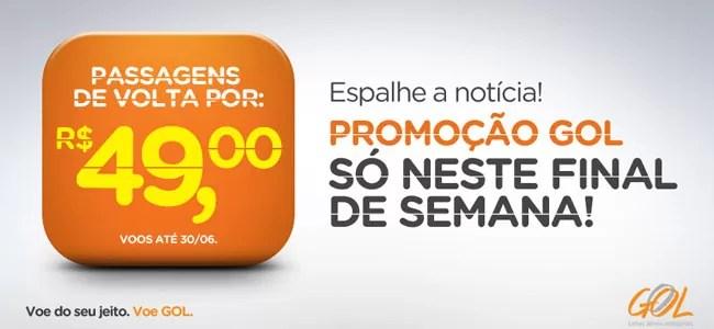 Promoção Gol: Passagens de volta por R$ 49,00