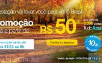 Promoção Azul com passagens aéreas de volta por R$ 50,00