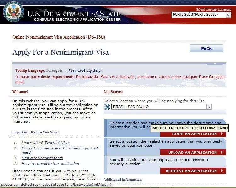Formulário de solicitação de visto DS-160