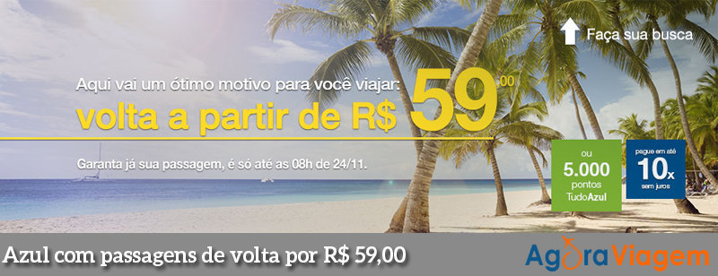 Promoção de passagens aéreas com volta de R$ 59,00