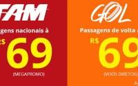 Promoção de passagens nacionais a partir de R$ 69 (TAM e Gol)