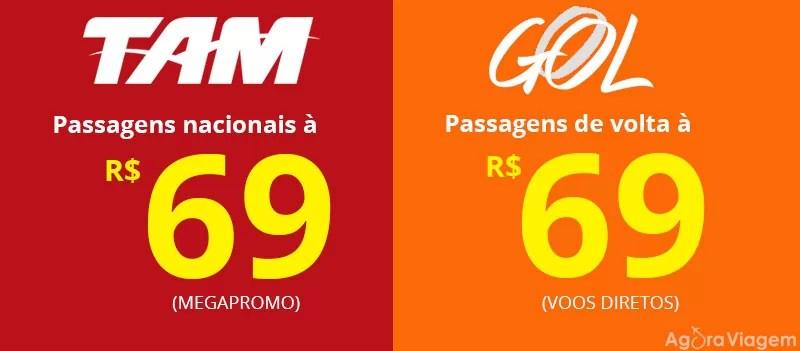 Passagens nacionais a partir de 69 TAM e Gol