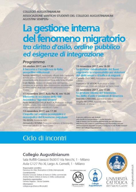 Locandina Augustinianum Percorso di approfondimento 2017-2018