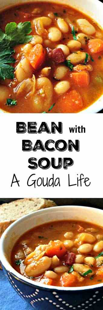 Bean with Bacon Soup made with OR without a ham bone. Hearty, packed with beans and bacon - so much flavor and perfect for a cold, winter day.