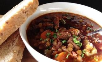 Beef Mushroom Lentil Soup