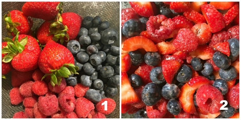 blended strawberries, blueberries and raspberries ready to go in the galette
