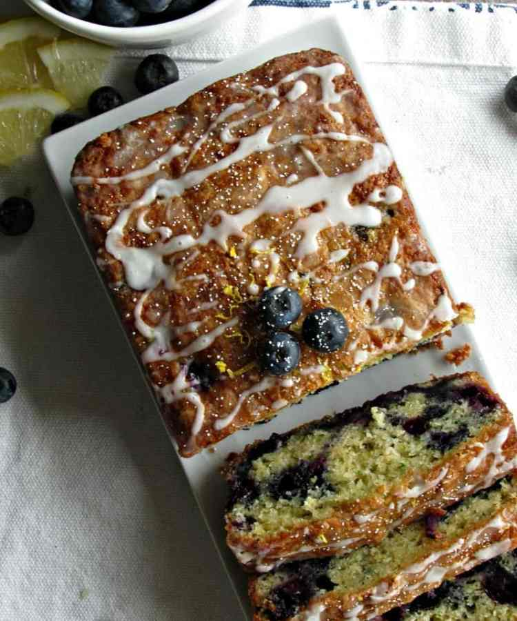 Lemon Blueberry Zucchini Bread ~ easy, moist, blueberry packed quick bread, made with shredded zucchini and yogurt, drizzled with lemony glaze