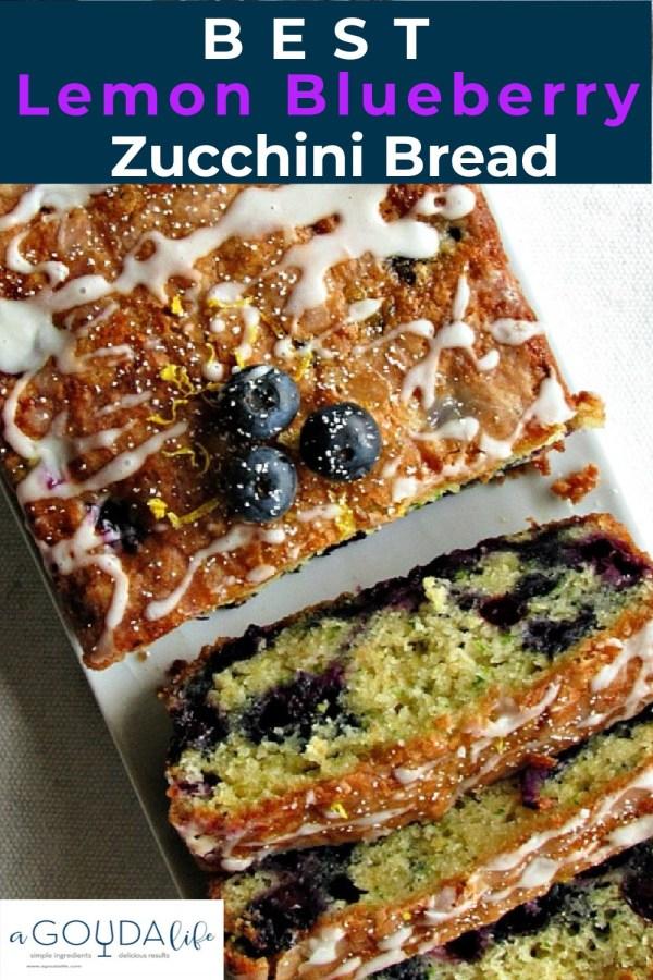 overhead view of glazed, sliced lemon blueberry zucchini bread
