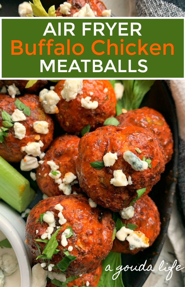 buffalo chicken meatballs garnished with crumbled blue cheese