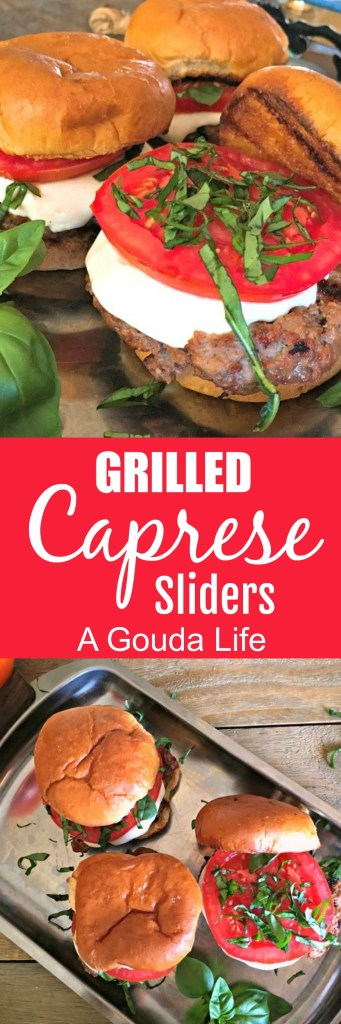 Caprese Slider - seasoned grilled burgers topped with fresh mozzarella, tomato and balsamic glaze on a toasted bun combining two of the best tastes of summer.
