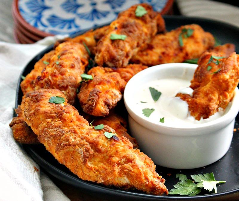 crispy breaded air fried chicken tenders