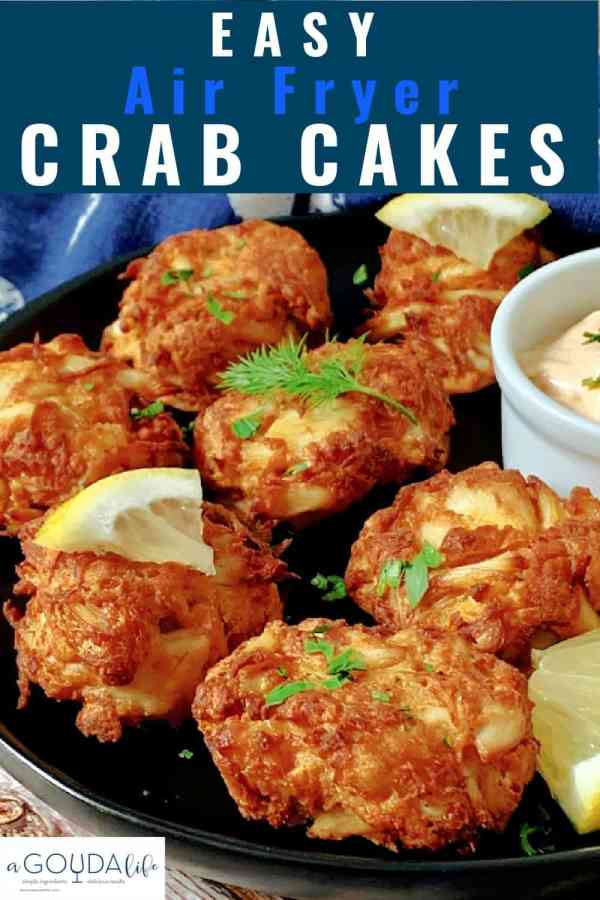 pinterest pin showing plate of crab cakes garnished with dill sprig