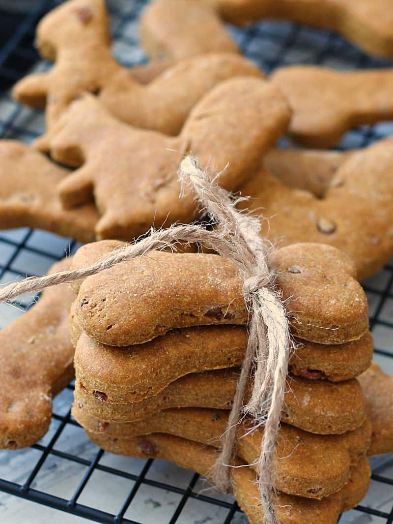 homemade dog treats on wire cooling rack