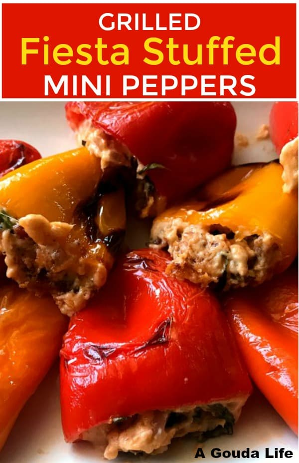 pinterest pin shows closeup of grilled stuffed peppers