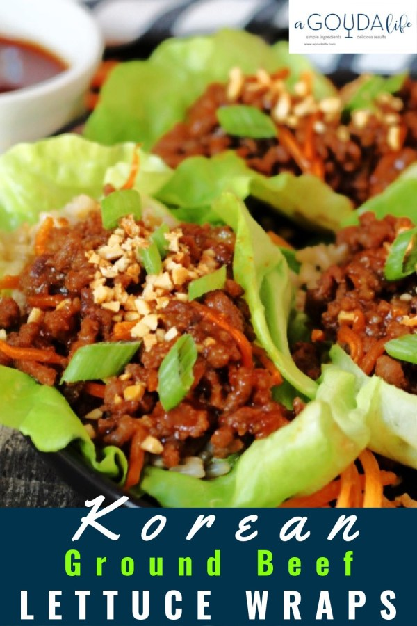 pinterest pin showing ground beef lettuce wraps