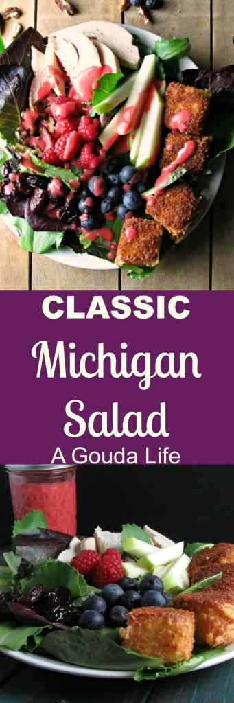 Michigan Salad recipe inspired by the classic Michigan Salad, but updated with with farm-fresh ingredients and a homemade raspberry-champagne vinaigrette.