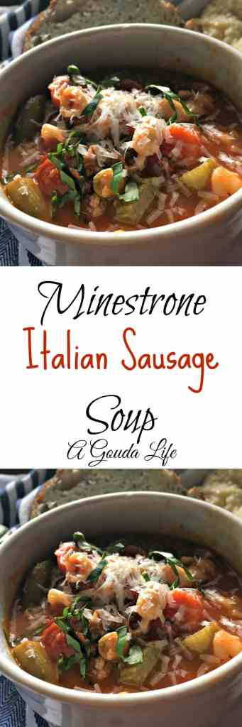 Minestrone Italian Sausage Soup. Packed with vegetables in a rich, tomatoey broth enhanced with the addition of Sweet Italian Sausage.