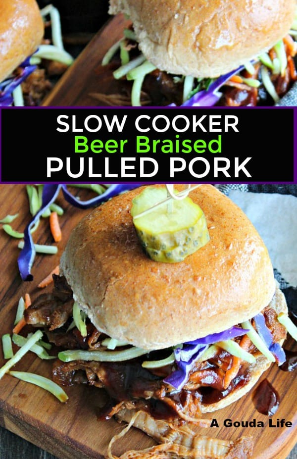 slow cooker beer braised pulled pork ~ Pinterest pin showing overhead of pulled pork slider topped with purple and green shredded slaw and dill pickle disc.