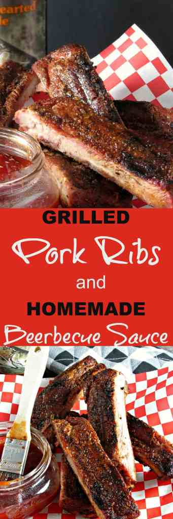 Grilled Pork Ribs and Beerbecue Sauce: dry rubbed, slow grilled & slathered with homemade beerbecue sauce. Ideal for Father's Day or anytime.