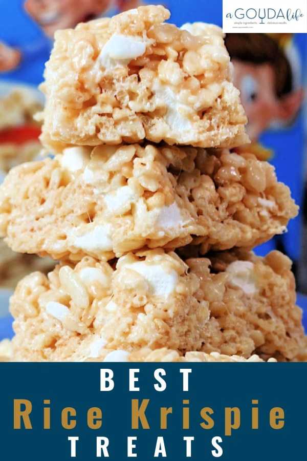 pinterest pin showing stack of rice krispies treats