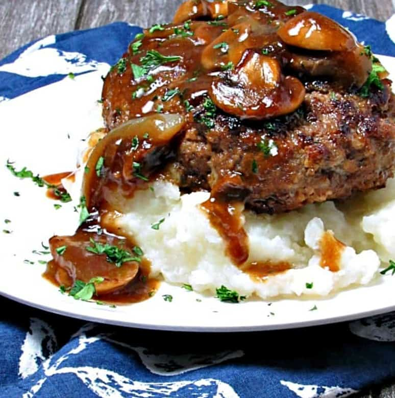 seared beef patty topped with mushroom gravy