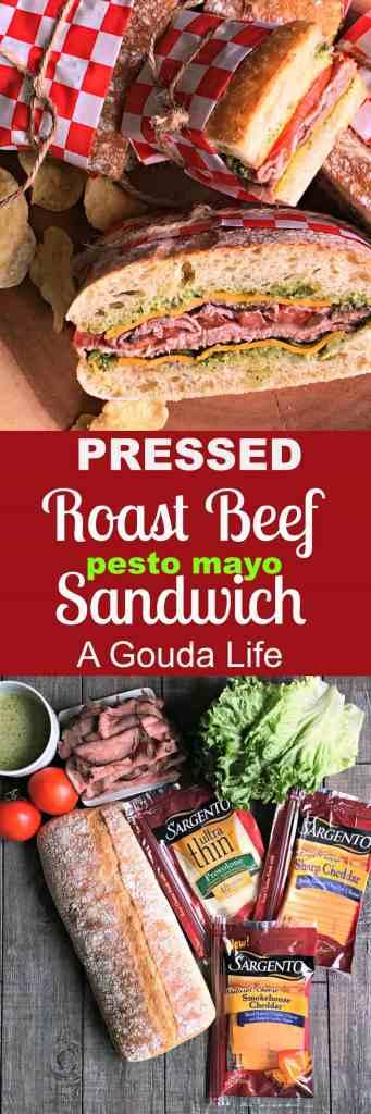 Pressed Roast Beef Sandwich: deli roast beef, cheese, lettuce, tomato, tangy apple & pesto-mayo on ciabatta, then pressed (no panini press needed).