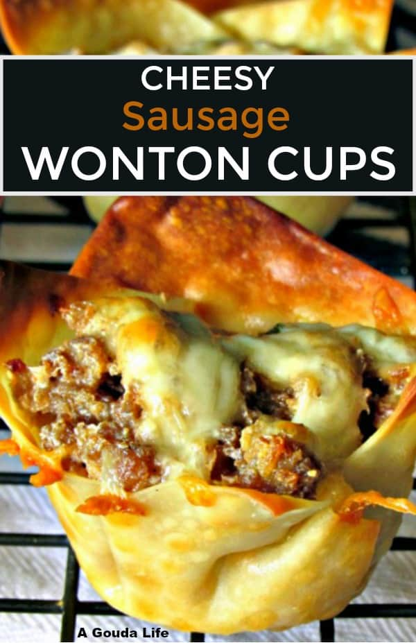 Pin for pinterest - closeup of crispy baked wonton filled with ground sausage, topped with cheese.