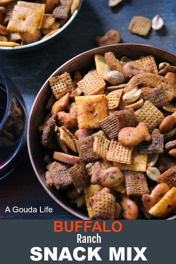Buffalo Ranch Snack Mix recipe ~ the ultimate party snack combining crunchy and salty plus a marriage made in heaven, Buffalo and ranch.