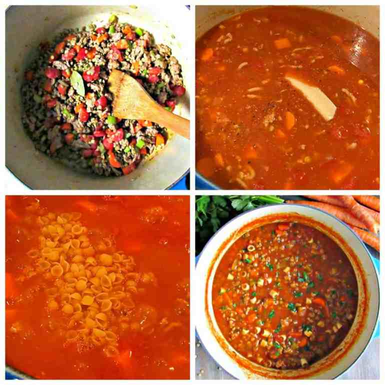 step by step photo instructions on how to make turkey and lentil soup