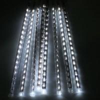 144 LED White Meteor Shower Rain Light Tube String Xmas ...