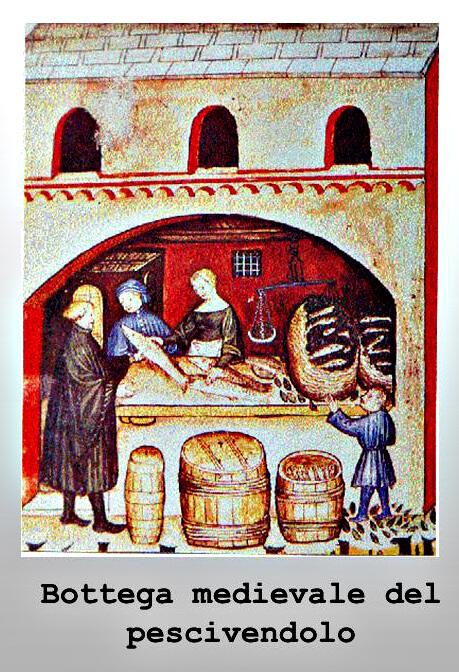 Bottega medievale del pescivendolo